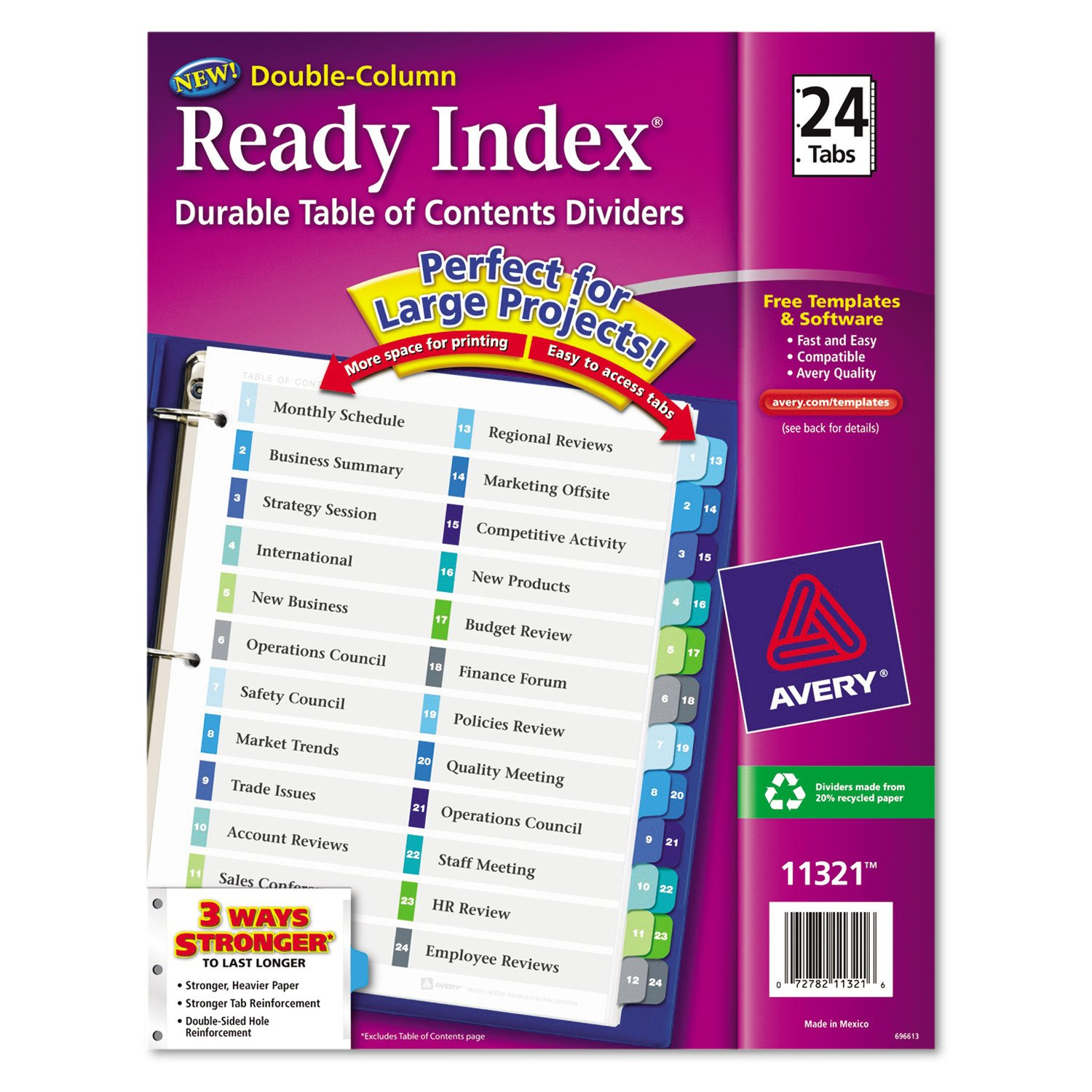 avery double column ready index dividers 24 tab set 1 set