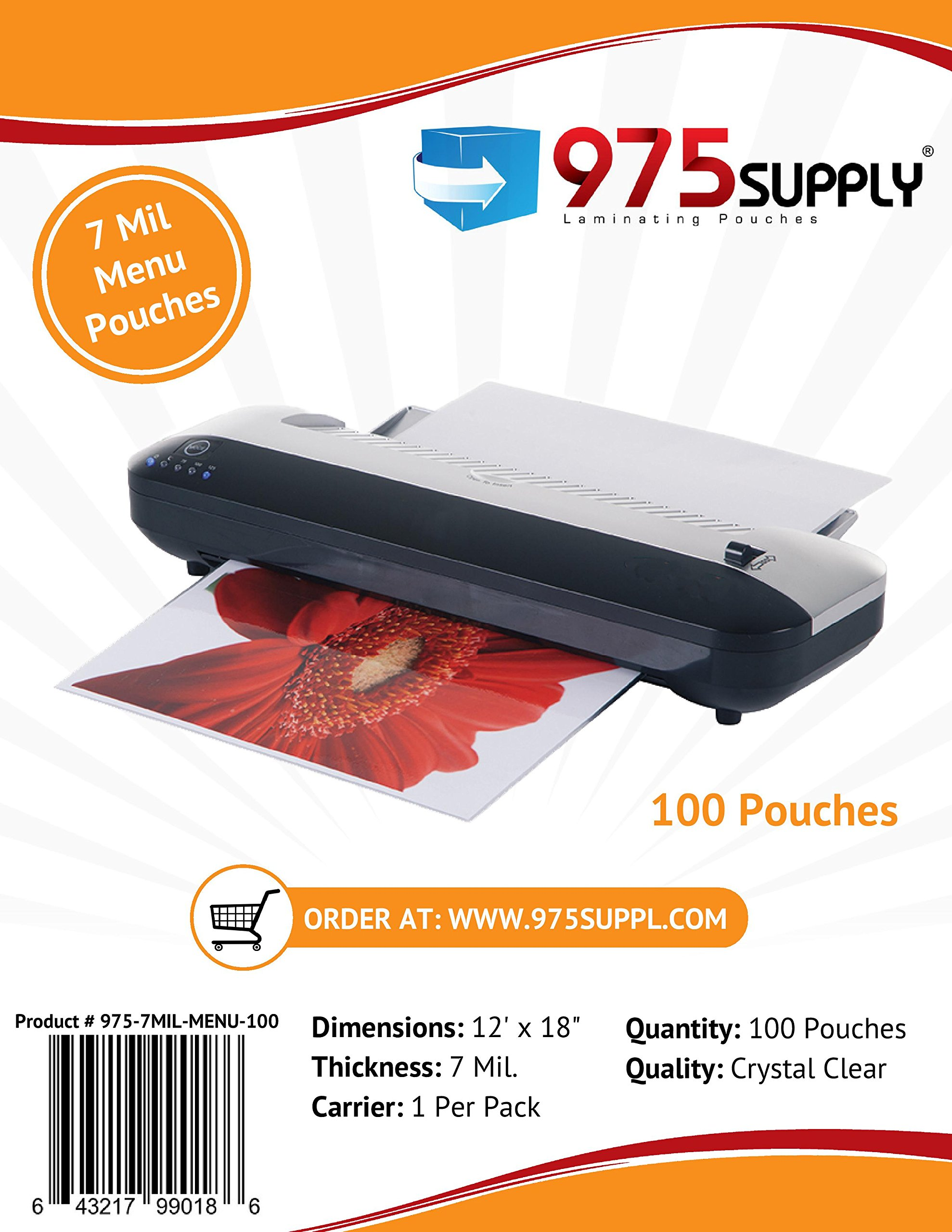 975 Supply 7 Mil Clear Menu Size Thermal Laminating Pouches, 12 X 18 inches, 100 Pouches