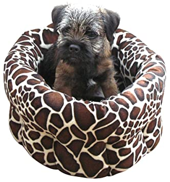 40 Winks Rosewood - Cama redonda de felpa para perro pequeño y gato con base antideslizante
