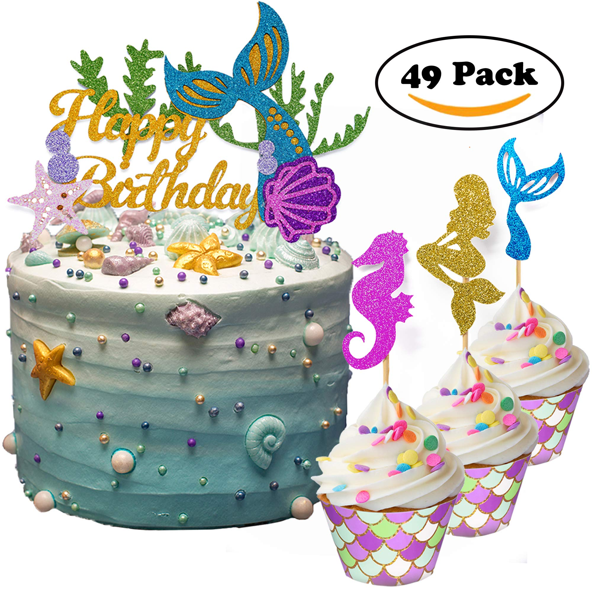 THAWAY Mermaid Cake Toppers Mermaid Birthday Party Supplies Decorations Cupcake Toppers(24pcs) Scale Cupcake Wrappers (24pcs) for Girls Boys Birthday Party Baby Shower