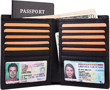 Men/'s Real Leather RFID Passport Holder Travel ID Cover Credit Card Wallet