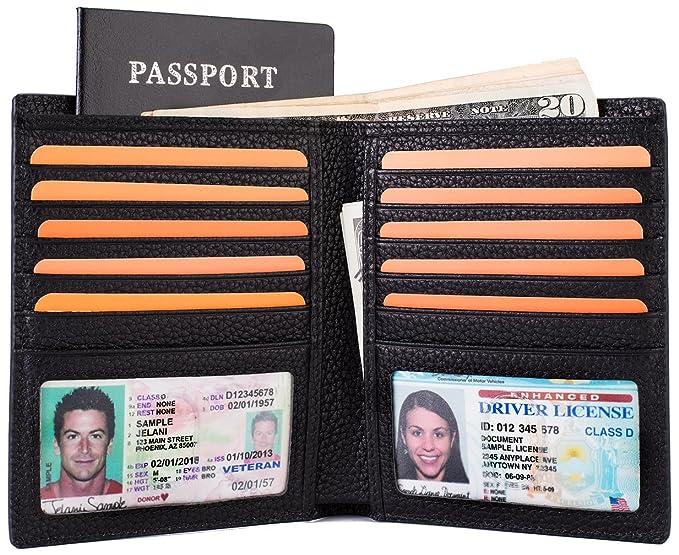 7514dfee3d04 Multi-Purpose Big Capacity Credit Card Holder Travel Wallet 2 ID Window  Genuine Leather RFID Blocking