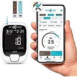 KETO-MOJO GK+ Glucose & Ketone Bluetooth Monitor + Free APP, 20 Test Strips (10 Each), Meter, 20 Lancets, Lancing Device, Con