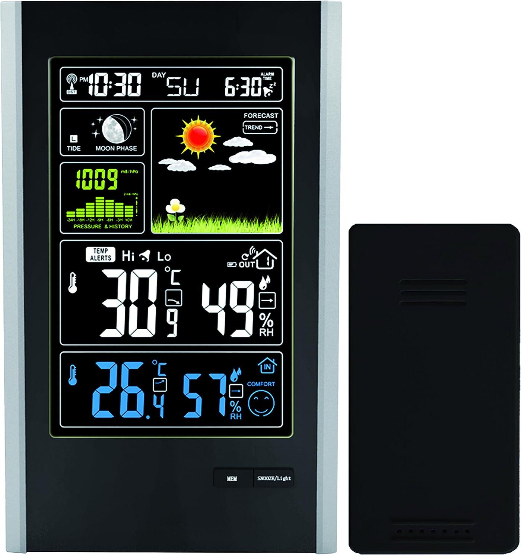 Estación Meteorológica Sensor Inalámbrico de Interior / Exterior y Puerto de Carga USB