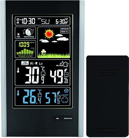 Funk Wetterstation Thermometer Temperatur Uhren Farbdisplay mit USB Ladestecker