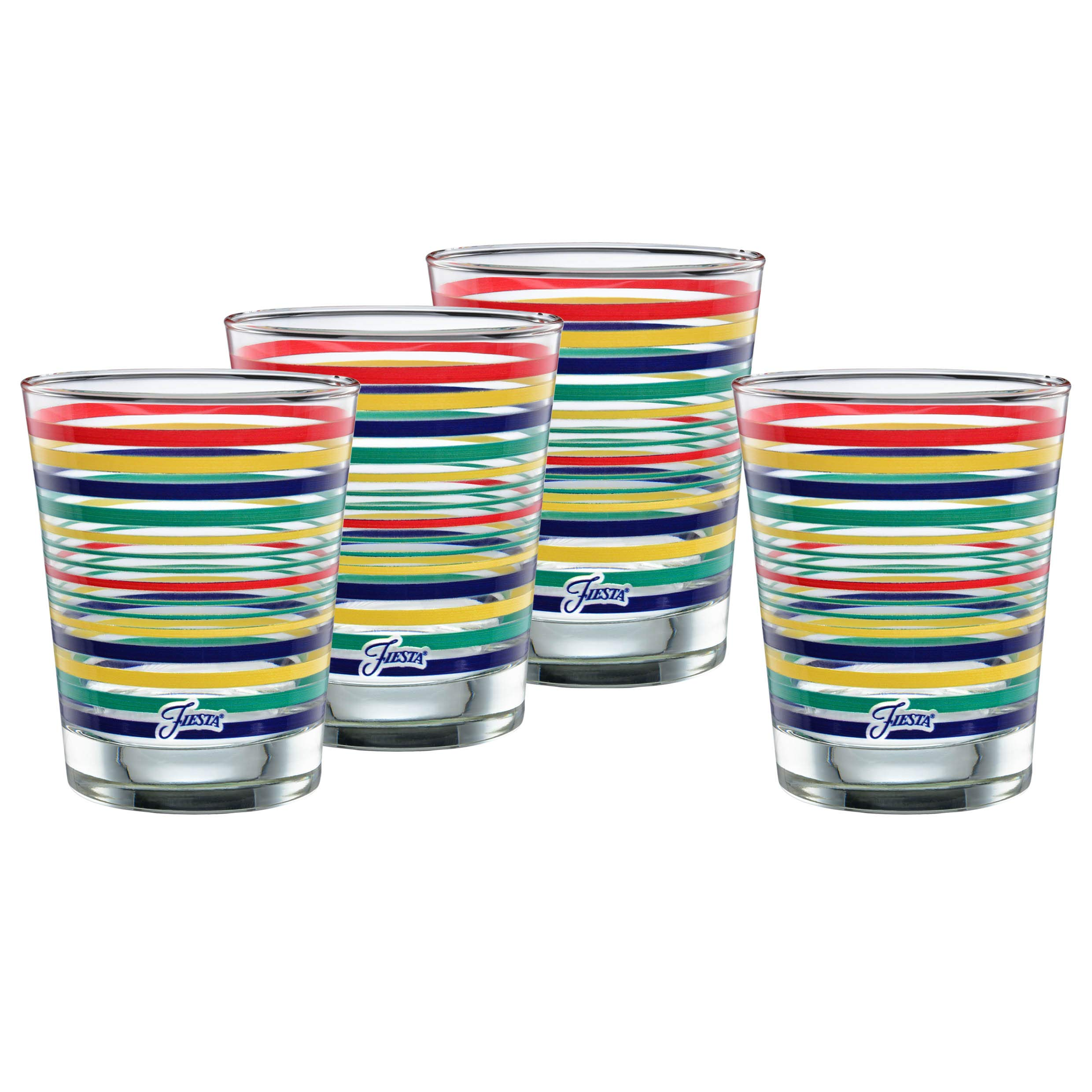 Officially Licensed Fiesta Stripes 14-Ounce Tapered DOF Double Old Fashioned Glass (Set of 4) (Cobalt Collection)