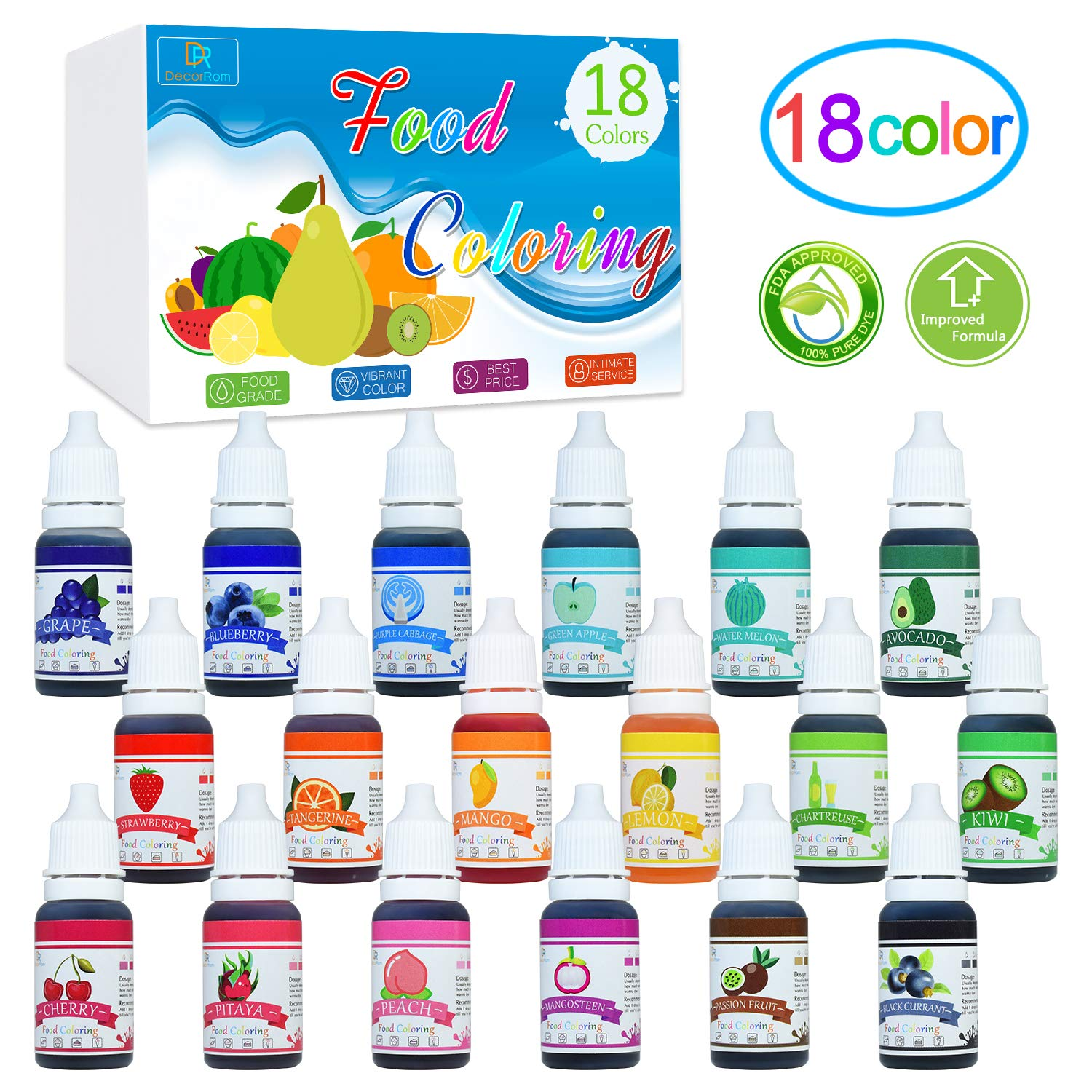 18 Color Food Coloring - Liquid Cake Food Coloring Set for Baking,  Decorating, Fondant and Cooking -...
