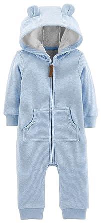 657fd78a7 Carters Baby Boys Dog Fleece Hooded Jumpsuit Newborn Blue/White