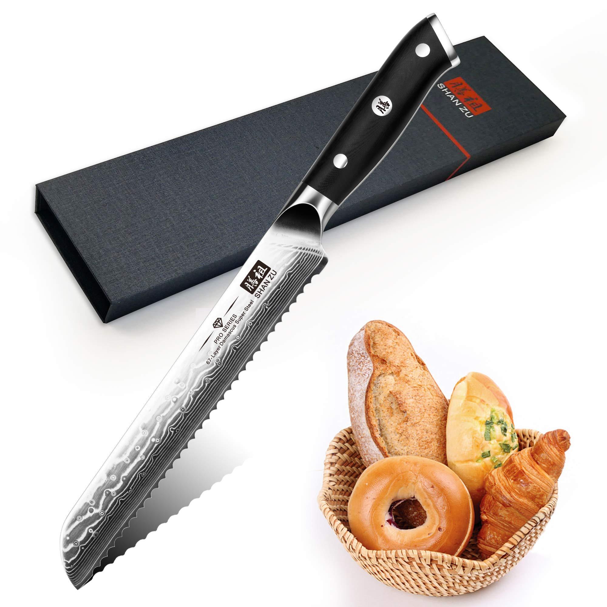 Compra SHAN ZU Cuchillo de Pan Damasco 20cm, Cuchillo Panero ...