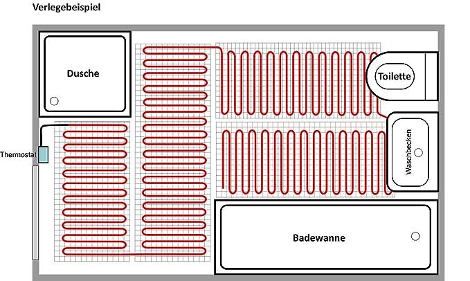 Elektrische Fußbodenheizung Komplett-Set BZ-150 Plus (4.8 m² - 0.5 ...