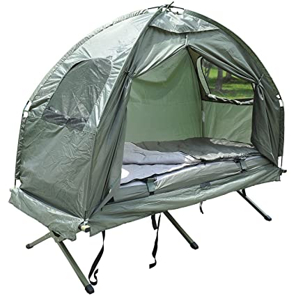 Outsunny Compact Portable Pop-Up Tent/C&ing Cot with Air Mattress and Sleeping Bag  sc 1 st  Amazon.com & Amazon.com : Outsunny Compact Portable Pop-Up Tent/Camping Cot with ...