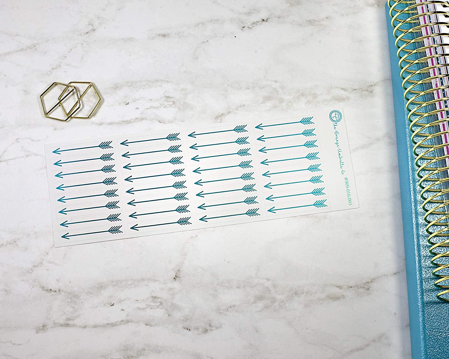 #909-016-003-F Arrow Foil Color Stickers Foiled Header Planner Stickers Divider Stickers for ECLP