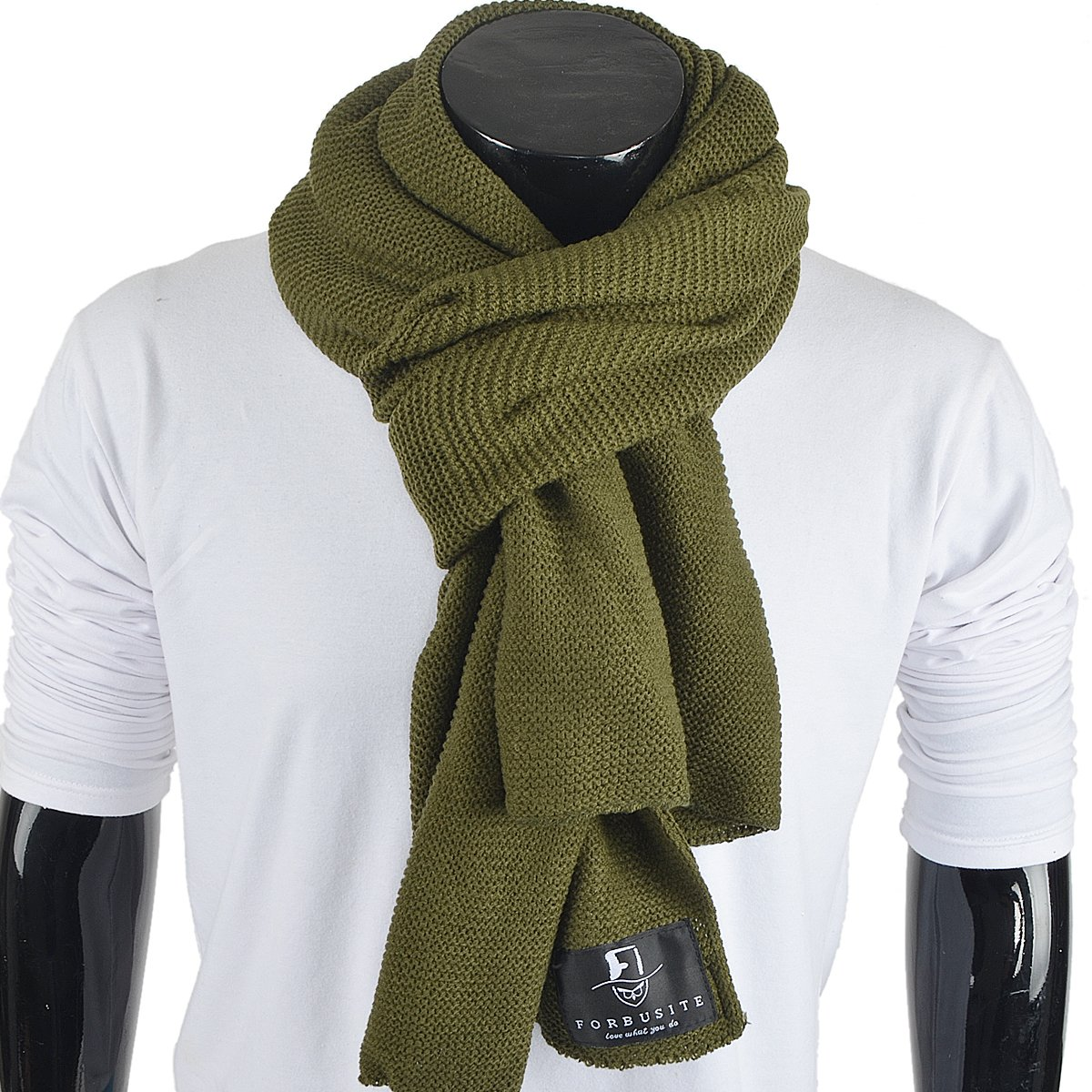Stylish Unisex Daily Square Pattern Soft Knitted Winter Scarf E5031 (E5081-Green)
