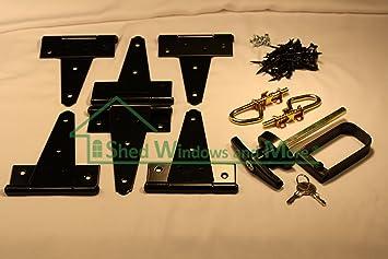 Shed Door Hardware Kit, T Hinges 6u0026quot;, T Handle, Barrel