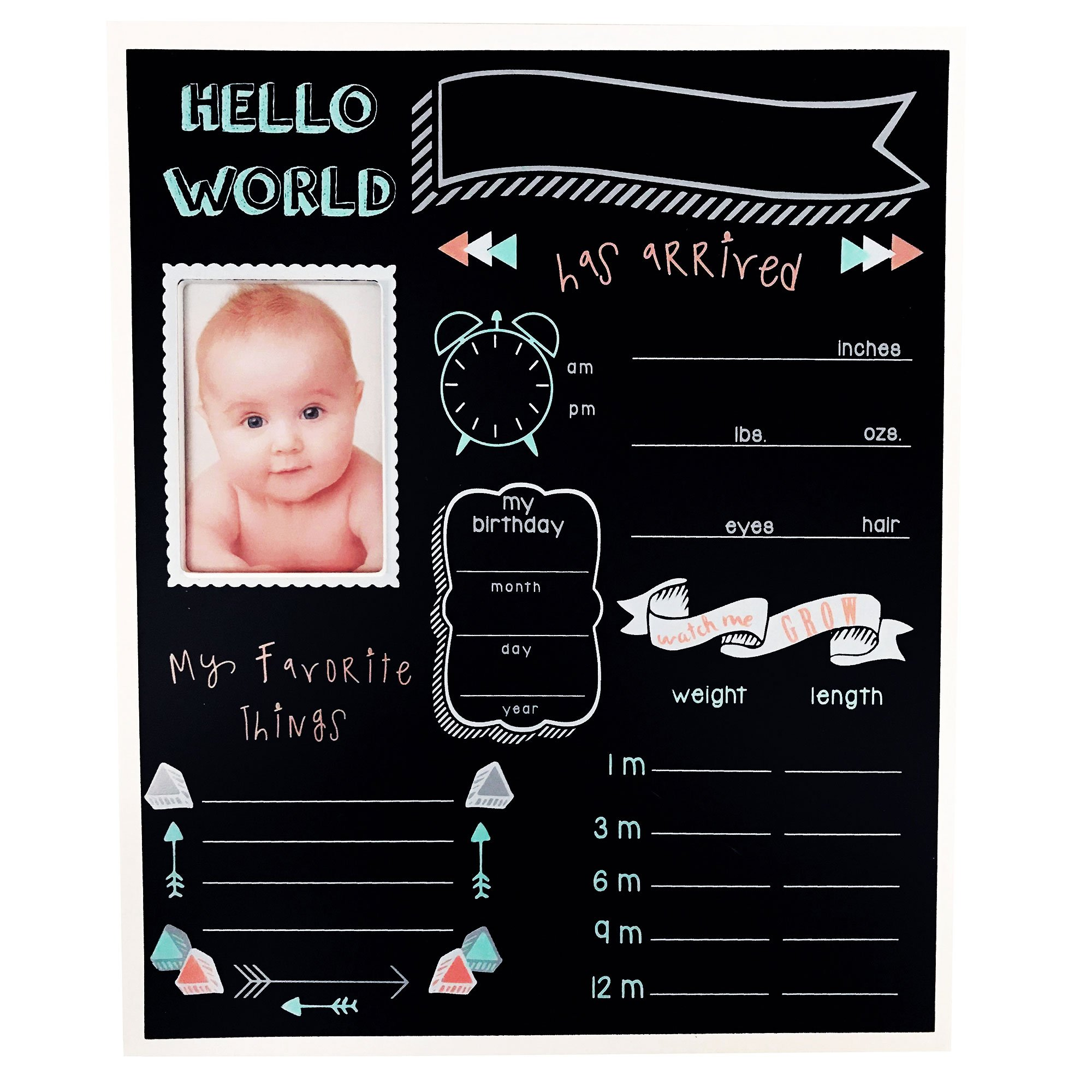 Baby Essentials Favorite Monthly Milestone Chalkboard Sign Unisex Customizable Nursery Decor Wall Art Photo Prop Best Newborn Gift for Baby Shower Registry or Cute Birth Personalized Memory Keepsake