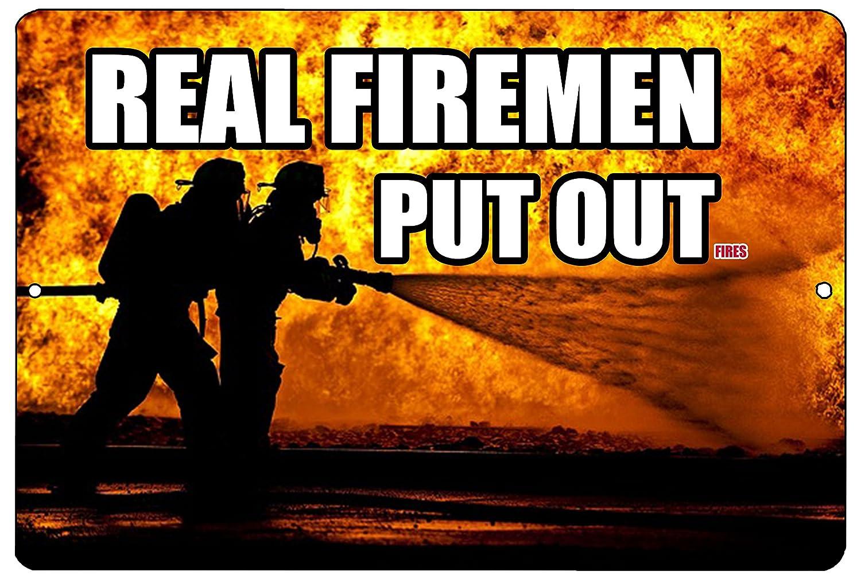Rogue River Tactical Funny Firefighter Metal Tin Sign Wall Decor Man Cave Bar Real Firemen Put Out .Fires