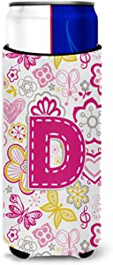 Letter D Flowers and Butterflies Pink Ultra Beverage Insulators for slim cans
