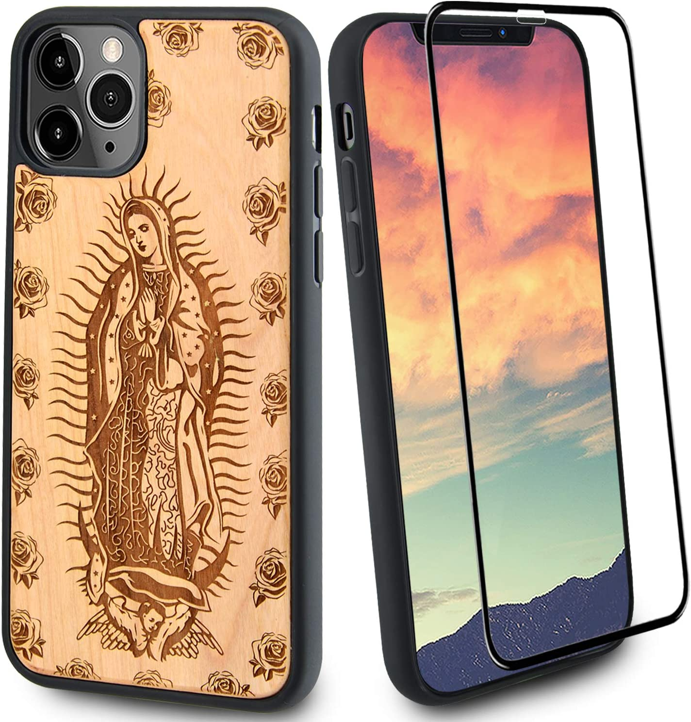 Gift by Ange Our Lady Guadalupe Wood Phone Case Compatible with iPhone 11 Includes Strong 9H Glass Screen Protector, Virgin Mary Engraved in USA, Wireless Charging Compatible (6.1 inches)