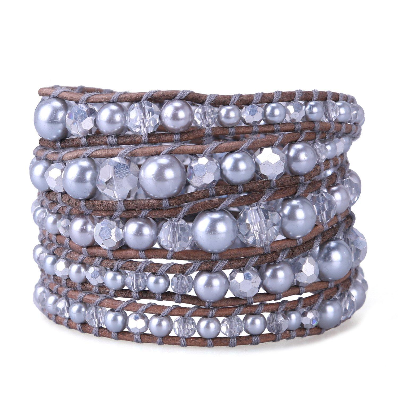 KELITCH Grey Crystal on Leather 5 Wrap Bracelet Handmade New Jewelry Charming Chain (Silver) by KELITCH