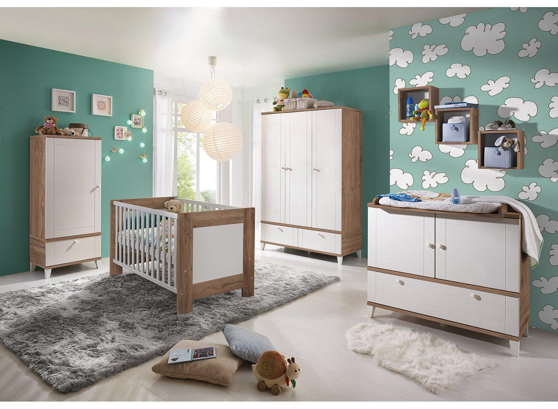 BABY-PLUS Kinderzimmer HEIDI Teak/Weiß MDF tiefgezogen