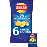 Walkers Cheese and Onion Crisps, 6 x 25 g