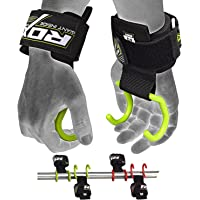 RDX Weight Lifting Hook Straps- Neoprene Padded Wrist Grips for Powerlifting, Weightlifting, Bodybuilding, Strength Training & Workout- Great for Deadlift, Shrugs, Chin Up, Dumbbell Rows