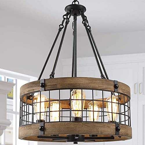 Drum Chandelier for Dining Rooms,5-Lights 19 Wood Farmhouse Chandelier