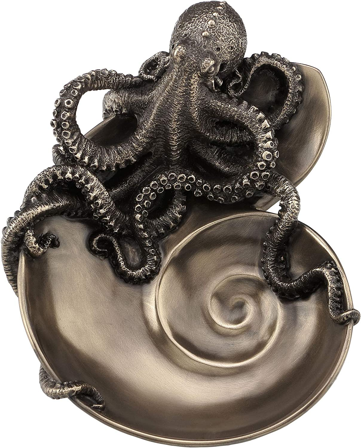 Veronese Design Container of Curiosity Bronze Finish Octopus On Nautilus Shell Tray