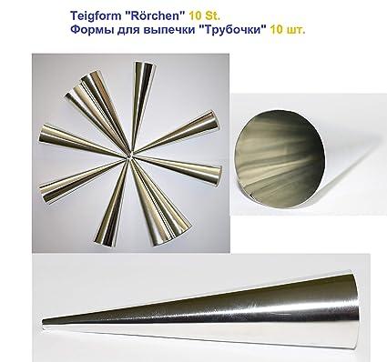 Para hacer barquillos para molde de 10er Set de ollas de acero inoxidable (140 mm x 35 mm) Set de 10 moldes con forma de cono