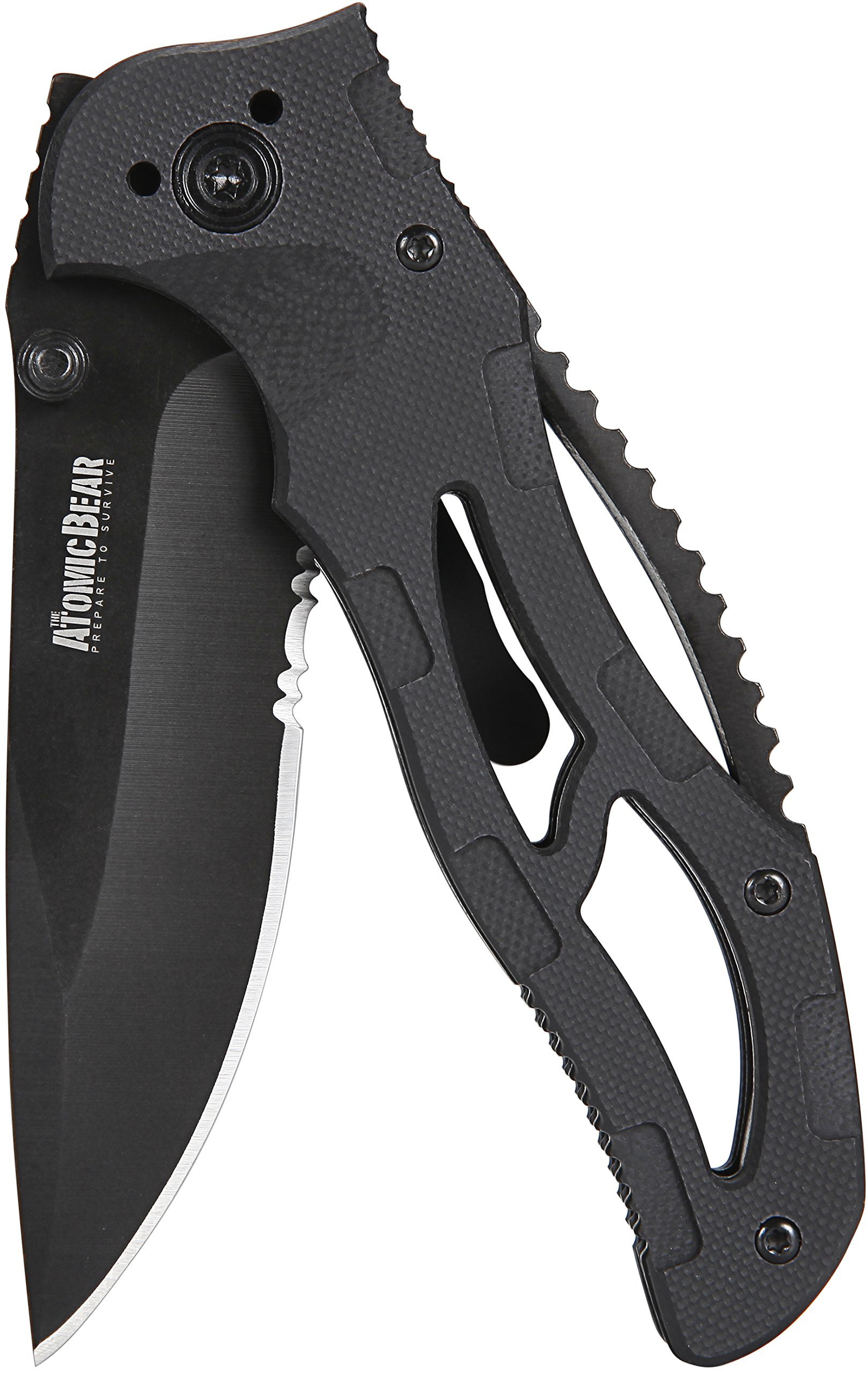 The Atomic Bear Folding Knife with Half Serrated Stainless Steel Blade and G10 Handle Perfect for Rescue, Self Defense, Hunting, Survival, Fishing, Hiking, Camping, Climbing, Work by The Atomic Bear