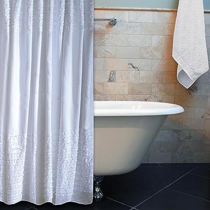 Amazon Greenland Home Ruffle Shower Curtain White Kitchen