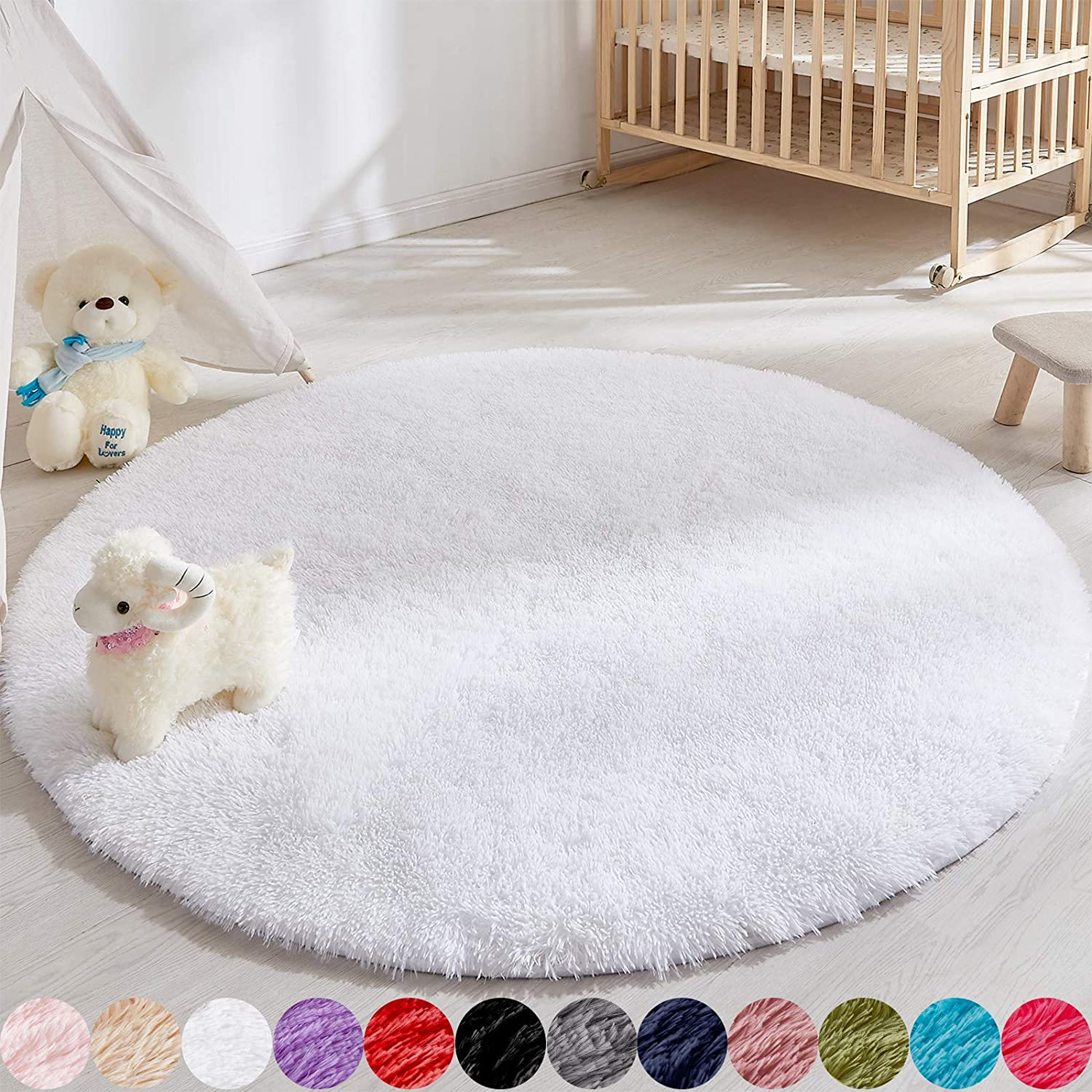 Soft Round Area Rug for Bedroom,4 Foot White Circle Rug for Nursery Room, Fluffy Carpet for Kids Room, Shaggy Floor Mat for Living Room, Furry Area Rug for Baby, Teen Room Decor for Girls Boys