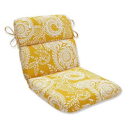 40.5u0026quot; White Paisley Swirl And Mustard Yellow Outdoor Patio Rounded Chair  Cushion