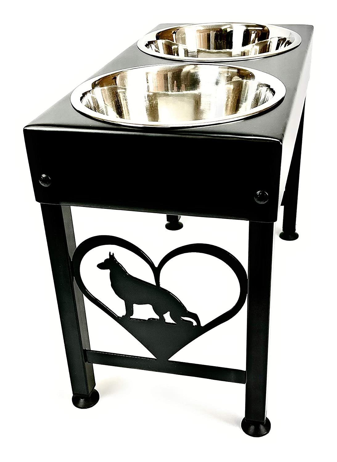Elevated Dog Feeder Stand for German Shepherd Double Stainless Steel Bowls 16