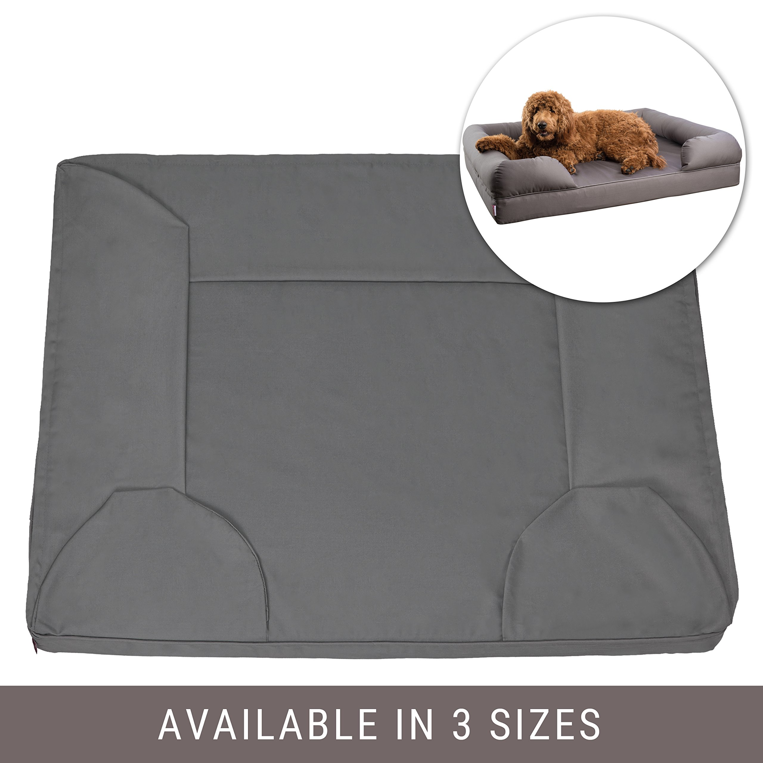 Petlo Gray Pet Sofa Bed Replacement Cover - Removable Water and Scratch Resistant - Machine Washable and Easy to Clean - Dual Zipper with Gusset - Extra Large 46'' x 36'' x 10