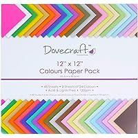 Dovecraft Essentials - gekleurde papieren verpakking 12 inch x 12 inch (48 vellen)