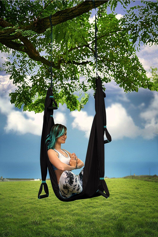 Antigravity Ceiling Hanging Yoga Sling Wide Flying Yoga Inversion Tool Trapeze Yoga Kit Women Men Kids Arial Acro Black Yoga Hammock Extension Straps /& eBook Yoga4You Aerial Yoga Swing Set