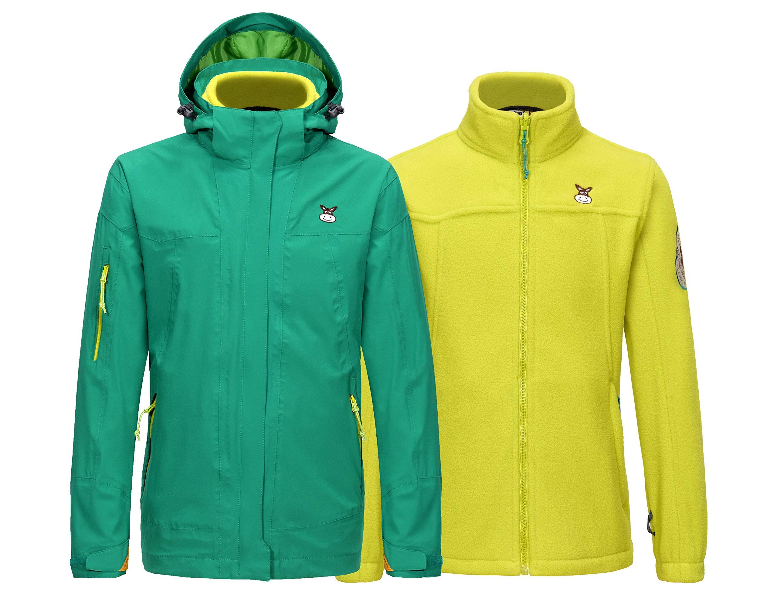 Little Donkey Andy Boys' Girls' 3-in-1 Winter Interchange Ski Jacket Fleece Lined Shell Coats, Waterproof & Windproof Green 140 by Little Donkey Andy