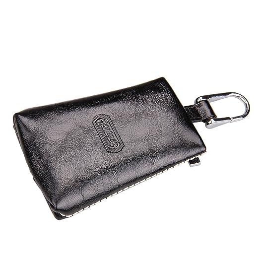 2f9e78557757 Contacts Men s Women s Genuine Leather Cowhide Designer Key Holder Wallet  Black Color