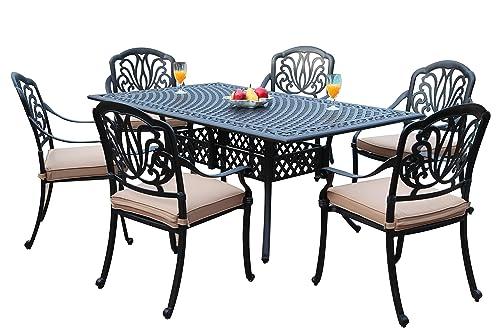 GrandPatioFurniture.com CBM Patio Elisabeth Collection Cast Aluminum 7 Piece Dining Set with A Rectangle Table 6 Arm-Chairs SH226-6A cbm1290