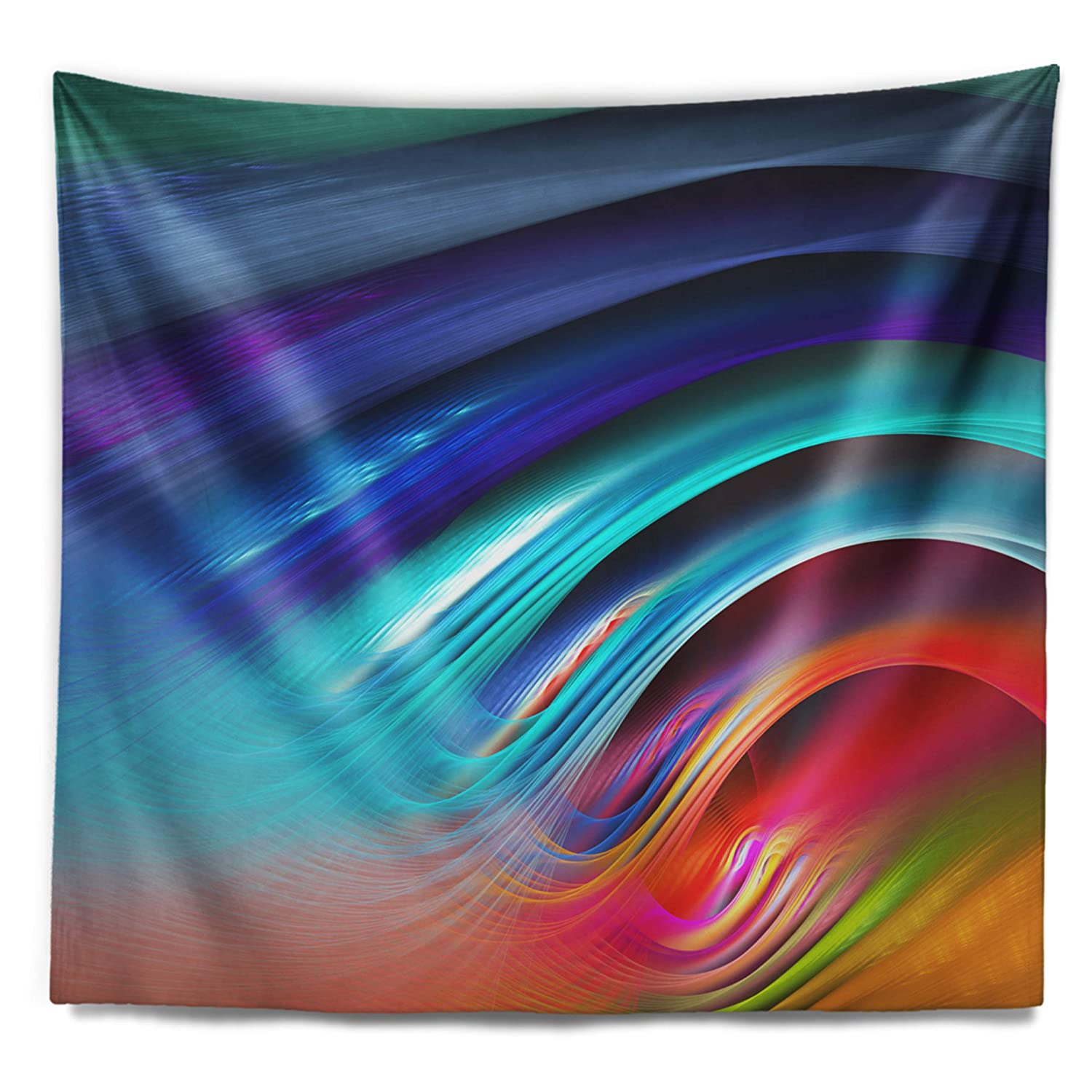 Created On Lightweight Polyester Fabric 80 in x 68 in Designart TAP15569-80-68  Beautiful Fractal Rainbow Waves Floral Blanket D/écor Art for Home and Office Wall Tapestry x Large