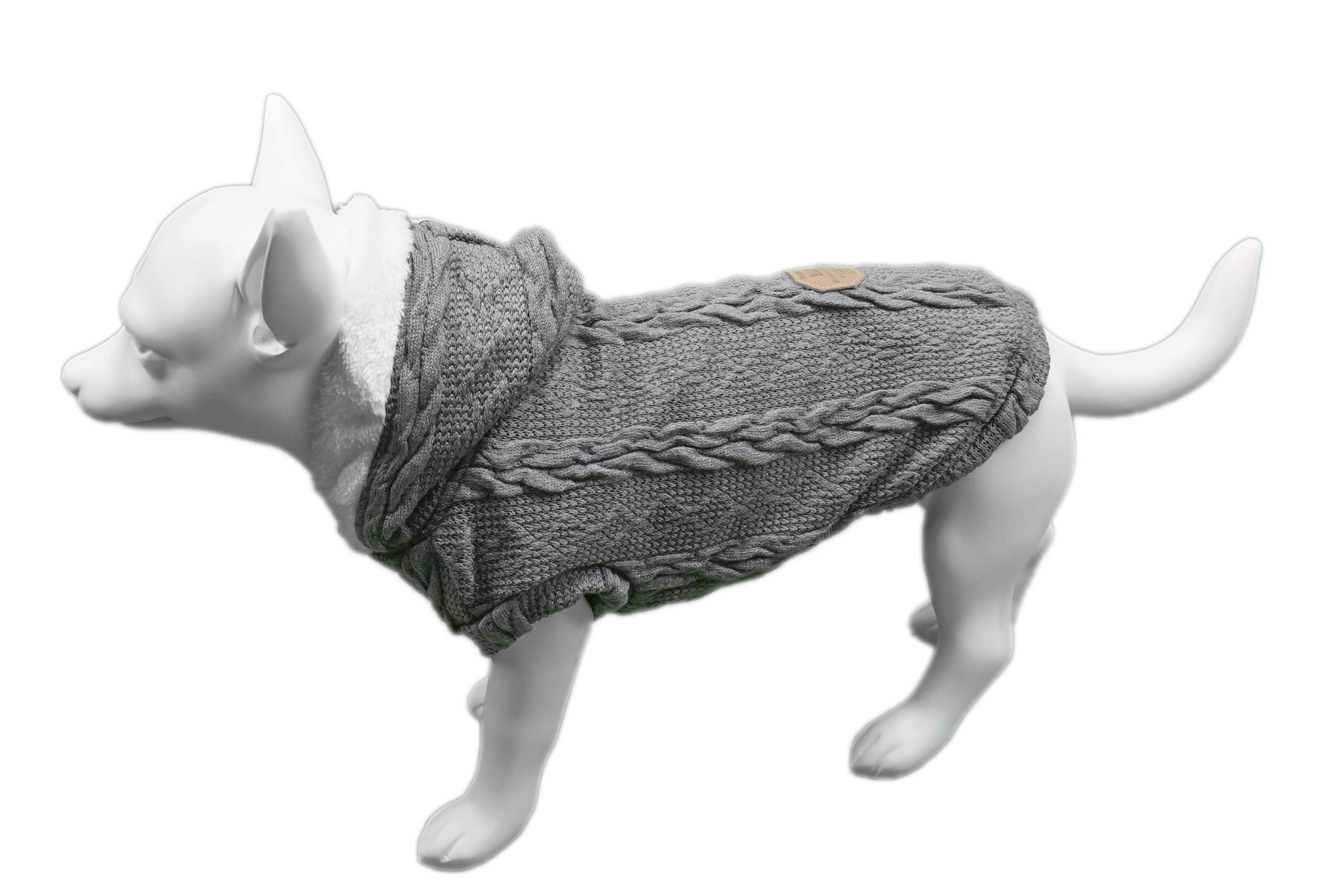 Furzy Fleece-Lined Cable Knit Sweater with Hood for Dogs (Medium, Grey)