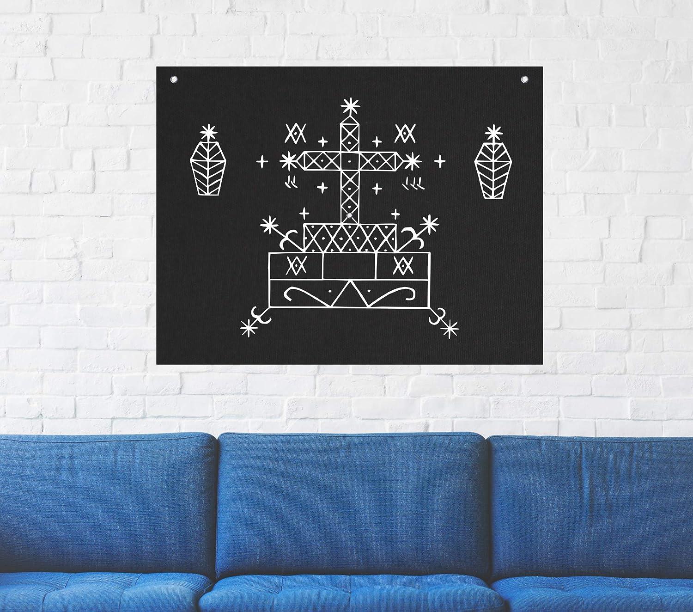 Baron Samedi Voodoo Veve Wall Tapestry - Goat Skull Sigil of Lucifer Pentagram Dragon Demon Evil Mendes Goat's Head Gothic Metal Occult Punk Satan Satanic Death Wicca Baphomet Leviathan Cross Inverted