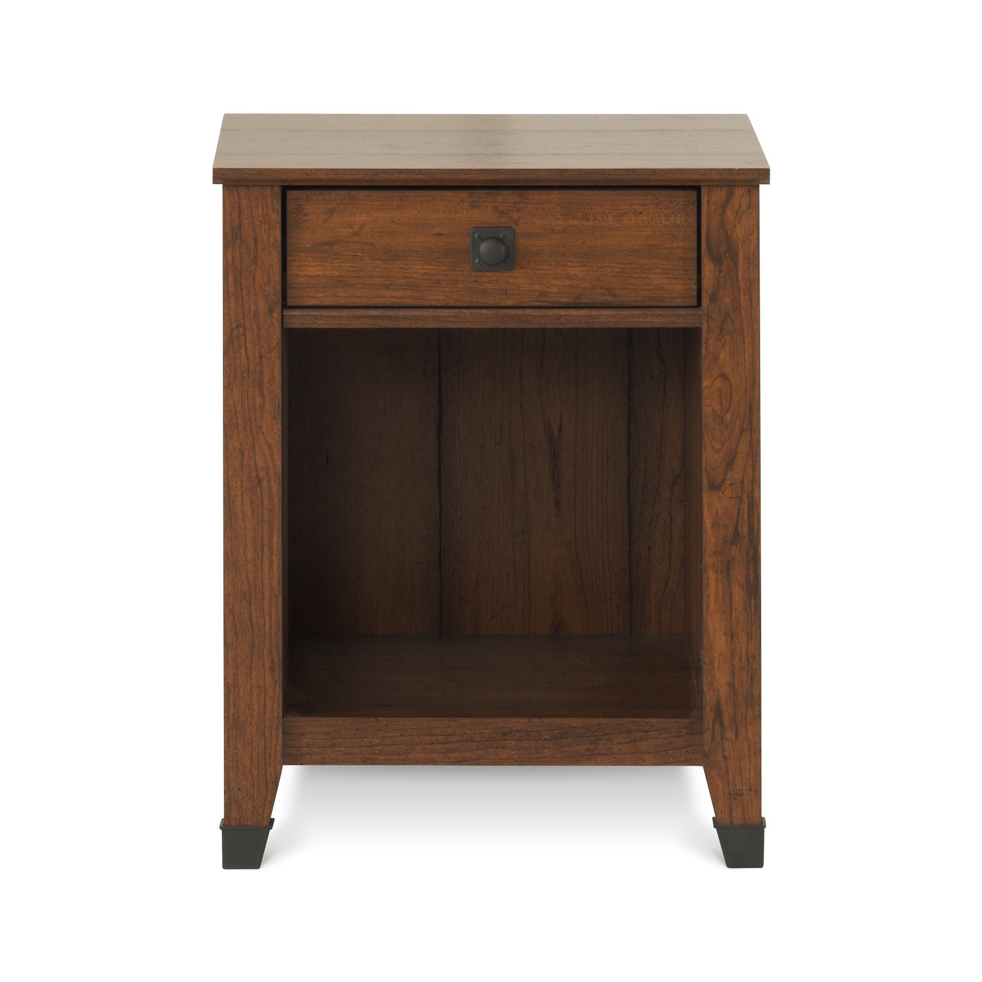 Redmond 1 Drawer Coach Cherry Finish Nightstand with Open Shelf for Additional Storage