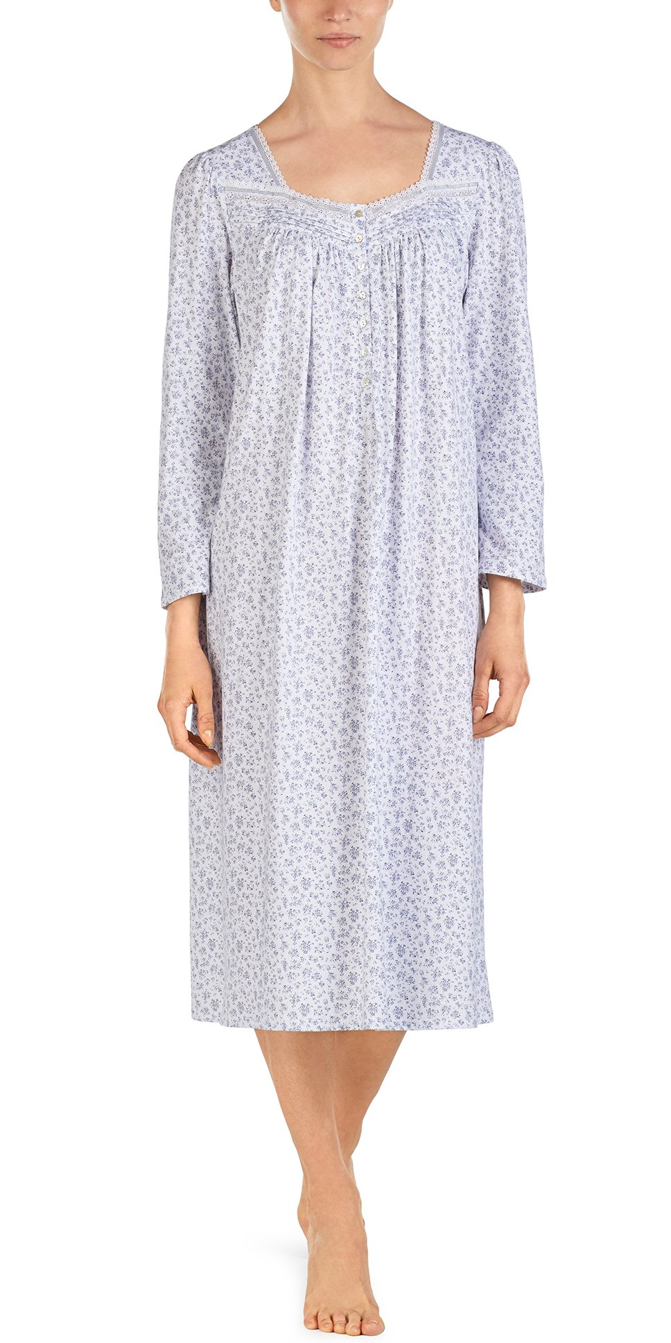 Eileen West Long Sleeve Gowns Long Cotton Knit in Silver Dale (White/Gray Print, Large (14-16))
