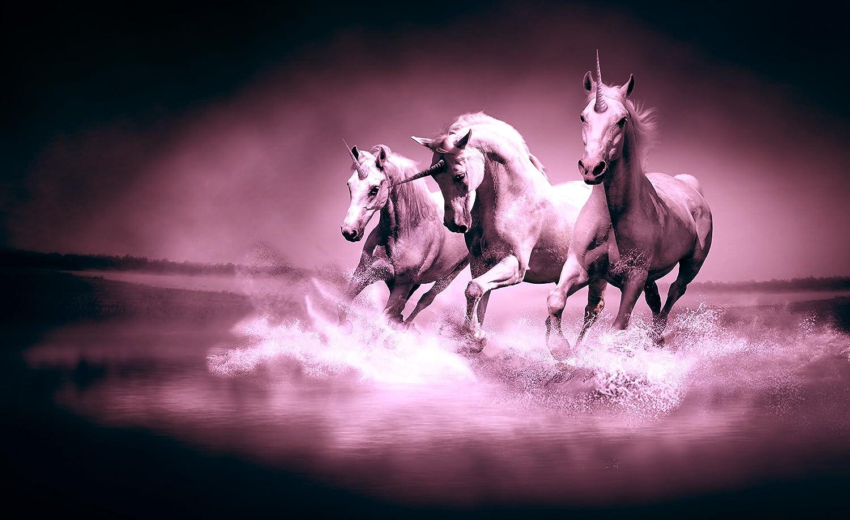 unicorn wallpaper amazon co uk galloping unicorns pink wallpaper mural
