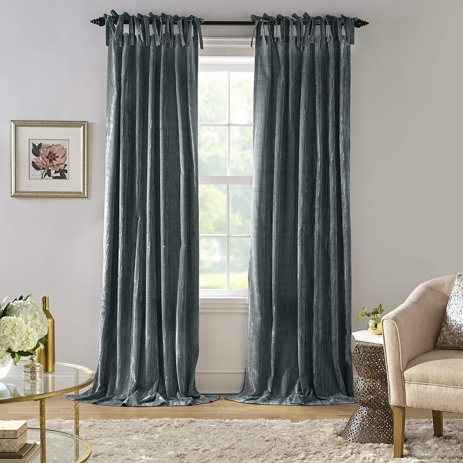 "Elrene Home Fashions Korena Tie-Top Crushed Velvet Window Curtain Panel, 52"" x 84"" (1, Peacock"