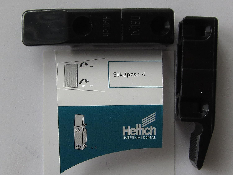 Hettich Einhä ngebeschlag 'MultiClip' zum Aufschrauben, 64 x 15 x 15 mm, Kunststoff schwarz, 4 Stü ck, 89348 + 49572