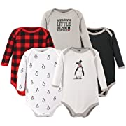 Hudson Baby Long Sleeve Bodysuits, Penguin 5Pk, 9-12 Months (12M)