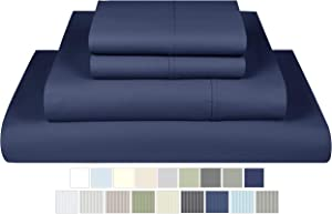 600 Thread Count Sheets Queen Size - 100% Cotton 4 Piece Bedding Set with Deep Pocket, Smooth Sateen, Queen Bedding, Folkstone Blue